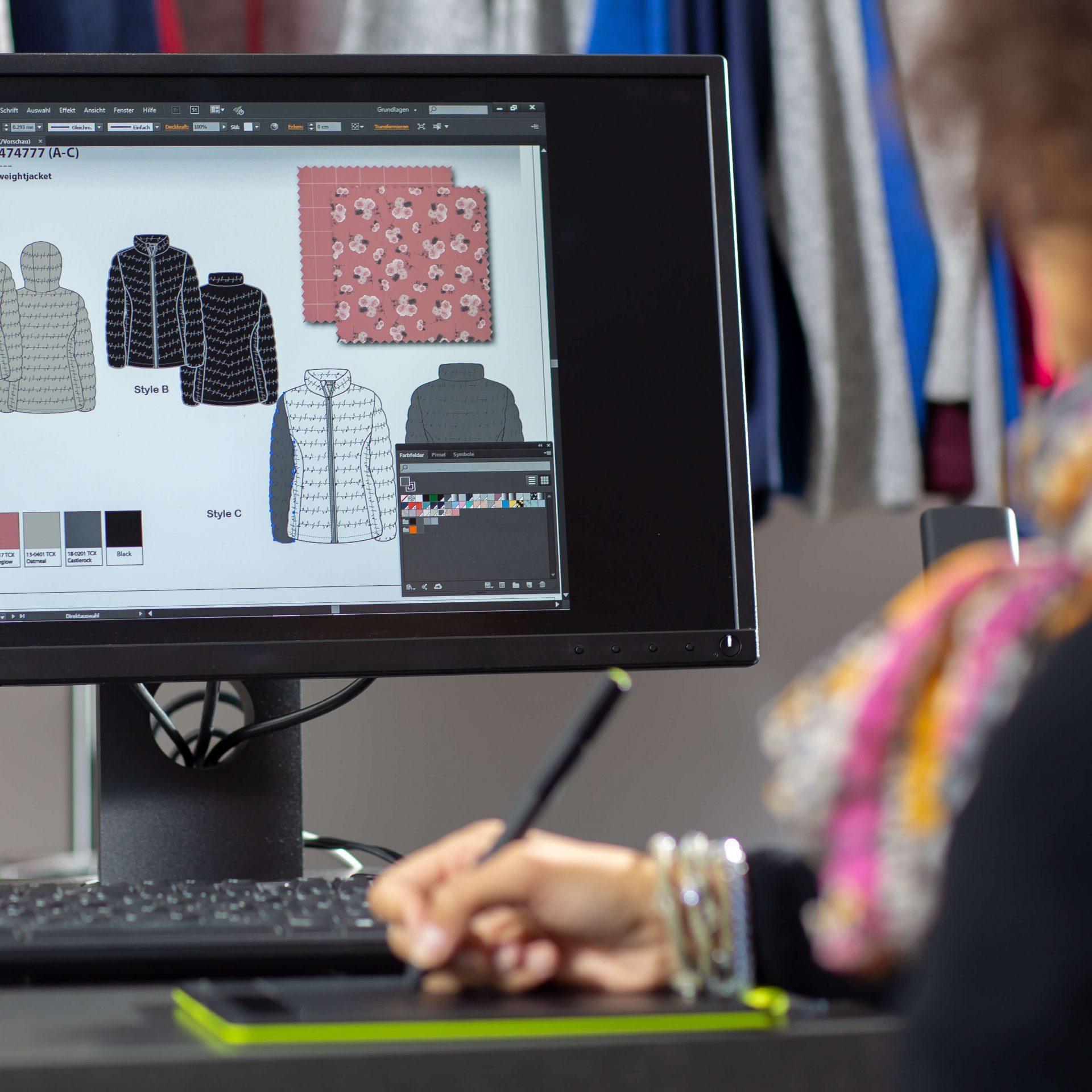 Nachhaltige Textilien Bildschirm Grafikerin