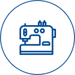 Nachhaltige Textilien Logo Nähmaschine